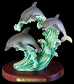 Trio Dolphins on Waves Figurine