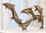 Six Dolphins in Bronze Finish Sculpture