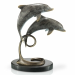 """Loving Couple"" Dolphins on Marble Base"