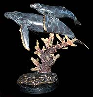 """Mother's Love"" Humpback Whales Sculpture"