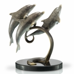 Playful Triple Dolphins on Marble Base