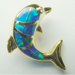 Gold Leaping Dolphin Pendant