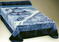 "Nanoron Four ""SURFING"" Dolphins Blanket-Bedspread (Queen Size)  SORRY... SOLD OUT"