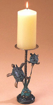 Bronze Sea Turtles on Marble Base Candle Holder