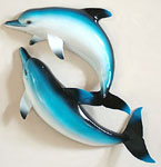 Blue Double Dolphins Wall Sculpture