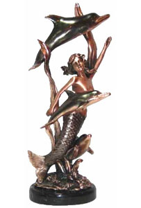 Copper Coated Mermaid & Trio Dolphins Sculpture