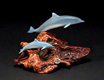 Mother & Calf Airbrushed Dolphins