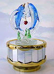Dolphins & Heart Shaped Glass Music Box