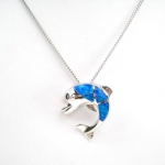Sterling Silver with Opal Dolphin Pendant