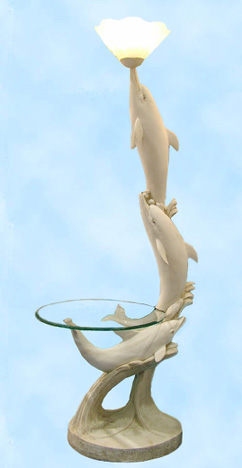 Fine Art Ivory Dolphin Corner Table..Entryway Table or End Table... / Floor Lamp