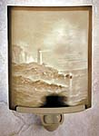"""Lithophane"" Translucent Porcelain Lighthouse Night light.Hand Crafted in the U.S.A. Artist: David Delamare"
